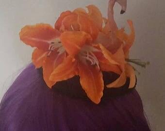 On SALE Flamingo hat, tiki, kawaii, pin up, Flamingo hat, wedding, pink flamingo, pink flamingo, vintage style,rockabilly