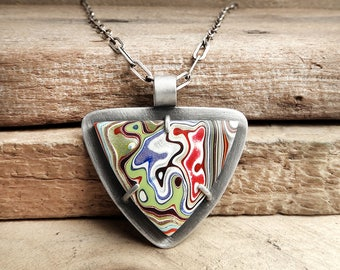Fordite necklace, Detroit Agate necklace, fordite jewelry, girlfriend gift for wife, statement necklace, gemstone jewelry