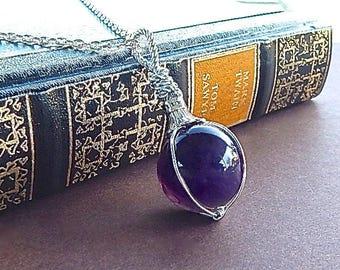 Fortune Teller Large Amethyst Sphere Gemstone Pendant Gazing Ball Globe Necklace