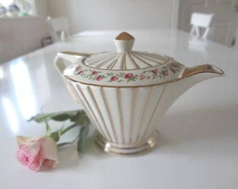 Sadler Teapot Roses & Gold Stripes Art Deco Style Pleated Fluted Gilded Excellent Condition Full Size  Made in England -  EnglishPreserves