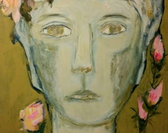 Statue, bust, roses, old world, painting, art, portrait