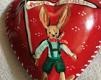 Red Metal Heart, Handpainted Heart Ornament , Cake Topper, Heart Ornament, so Proud of You, Rabbit