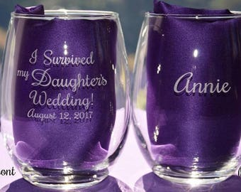Personalized Engraved I Survived My Daughter's/Son's Parents Wedding Keepsake Glass~Mother of the Bride/Groom~Father of the Bride/Groom