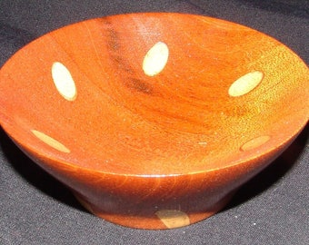 "Mahogany Bowl – ""Small Sample"" – Special Technique of Inserted Segmentation"
