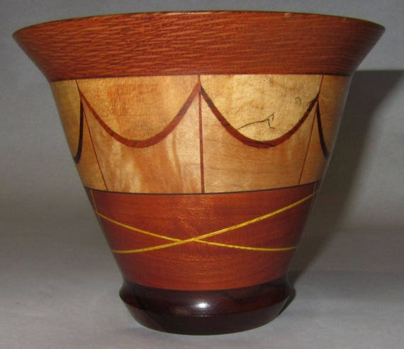 "Multi-Layered Segmented Wood Turned Bowl – ""97-2"" – Mahogany, Maple, Lacewood and Veneers"
