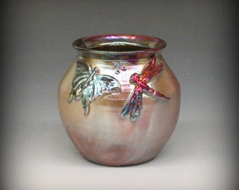 Raku Pot with Butterfly and Dragonfly