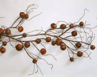 Rusty Bell & Twig Garland 4 Ft Long with a Variety of Rusty Bells Garland for Your Christmas Tree, Banister Mantel
