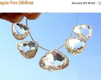 50% Off Sale 5 Large Focals of Eye Clean Rock Crystal Quartz Faceted Heart Shaped Briolette Size 16x16mm - 20x20mm approx