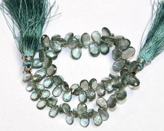 "50% Off Sale 9"" Natural Moss Aquamarine Faceted Pear Briolettes - Size 6x4 - 10x5 mm - Semiprecious Loose Gemstone Beads MQ04"