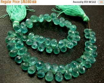 50% Off Sale Full 8 inches - Caribbean Waters Natural Apatite Faceted Drop Briolettes Size 7x4 to 8x5mm approx.