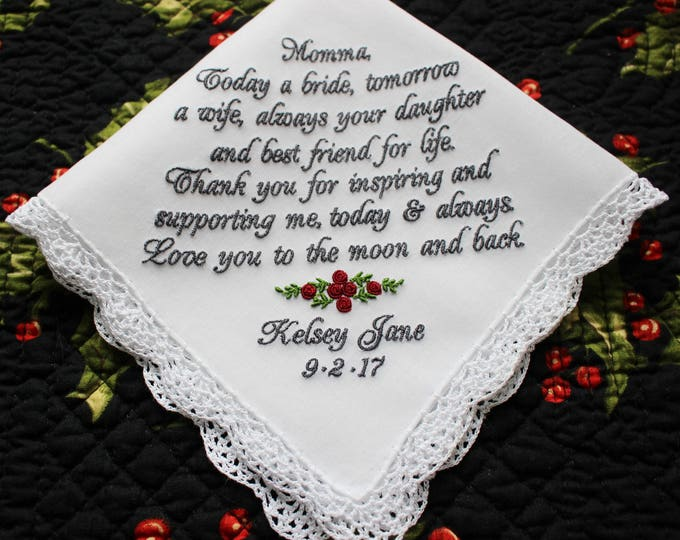 Mother of the Bride Gift, Mother of the Bride Handkerchief, embroidered handkerchief, wedding hankies, personalized wedding handkerchief