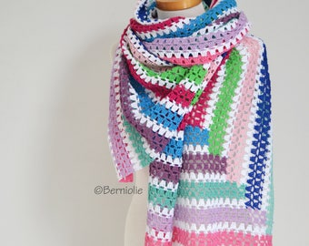 Crochet shawl, stripes, Q533