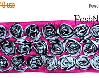 20% OFF EXP 06/30 Two yards Rosette Ribbon 4 inches - Hotpink Zebra