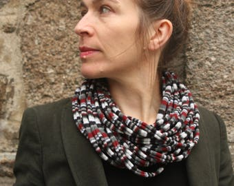 Grey/Burgundy/black striped knit scarf or MULTISTRAND necklace