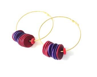 Big hoop earrings, gold hoop earrings, colorful hoop earrings, purple hoop earrings