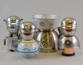 RESERVED for RICHARD: Nightlight Bots, Assemblage Art Recycle Robot Sculptures with Light