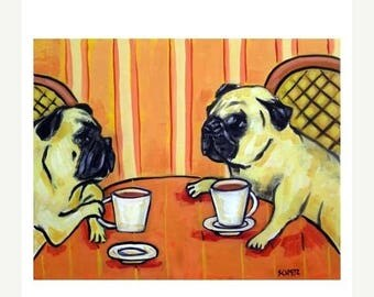 20 % off storewide Pug at the Cafe Dog Art Print
