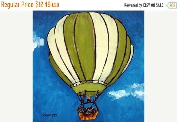 20% off storewide Pot Belly Pigs in a Hot AIr Balloon Animal Art TIle Coaster Gift