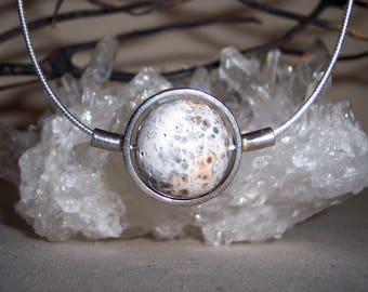 RHYOLITE (ORBICULAR)  -hand-cut -Stone Sphere Necklace