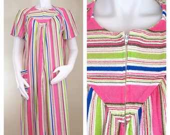 70s Pink Striped Short Flutter Sleeve Terry Robe, House Coat or Swim Cover Up, Large