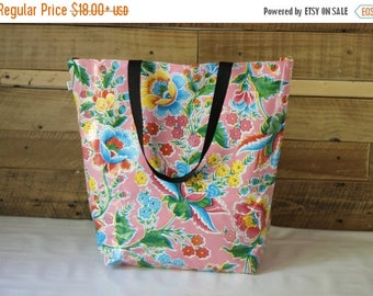 ON SALE market bag - beach bag - tote bag - waterproof beach bag - pool bag - reversible bag - oilcloth bag - gifts for her - teacher gifts