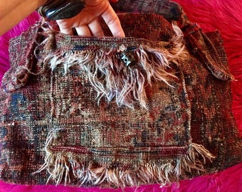 Vintage 60s Woodstock Era Carpet BOHO BAG