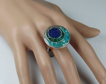 Sterling silver statement ring with crushed stone inlay, turquoise, malachite and lapis stone