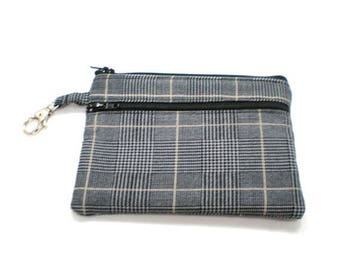 Summer Clearance Larger Zippered Wallet Change Purse Gadget Case  Black and Tan Plaid Suiting