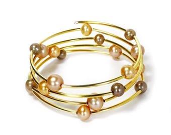 HALF PRICE SALE Golden champagne and pistachio pearl gold memory wire bracelet