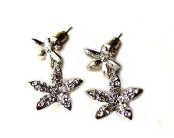 HALF PRICE SALE Silver and clear crystal flower dangle post earrings Clearance