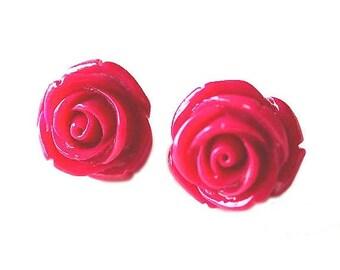 HALF PRICE SALE Dark pink rose flower resin earrings Last One