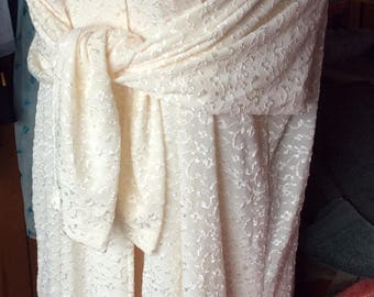 VINTAGE ROBE LOUNGER, ivory, embroidered, long, night wear, dressing gown, boudoir