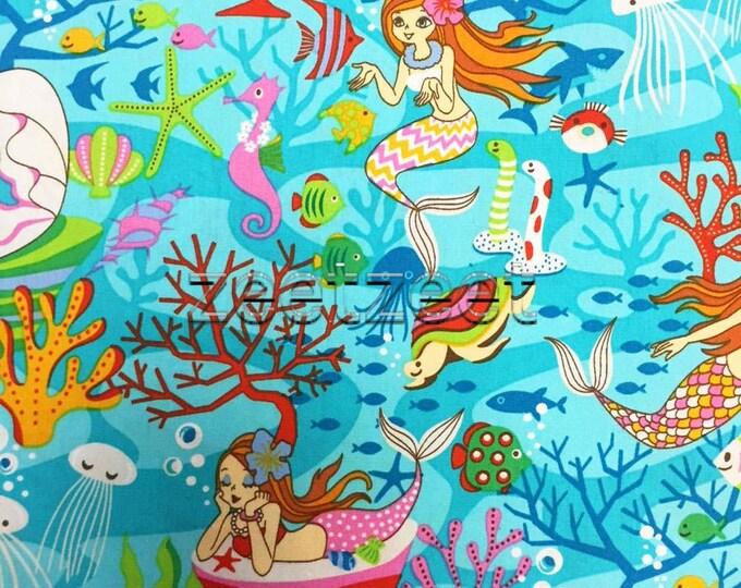 MERMAID Turquoise Quilt Fabric - by the Yard, Half Yard, or Fat Quarter Fq Turq Pink Aqua Mermaids Under the Sea Ocean Starfish Fish Turtles