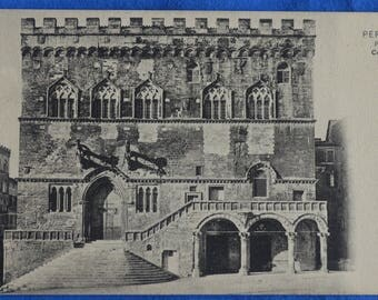 Palazzo Comunale Town Hall Perugia Italy Antique Black and White Unused Postcard