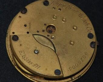 Gorgeous Vintage Antique Elgin Watch Pocket Watch Movement Porcelain face Steampunk SM 41