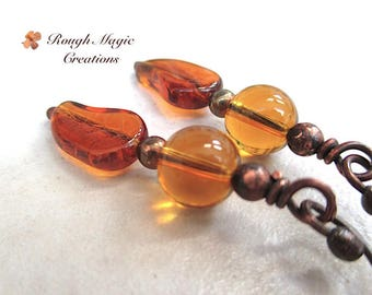 Autumn Leaves Earrings, Fall Jewelry, Amber Topaz Glass Dangles, Honey Gold Leaf, Rustic Antiqued Copper Earwires, Woodland Theme  E495
