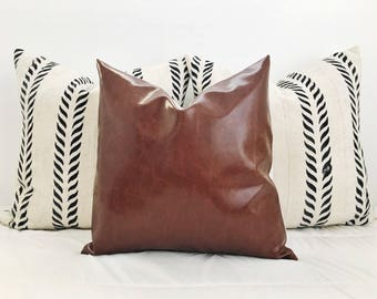 """The """"Rusty"""" vegan leather 20"""" pillow cover / modern / boho"""