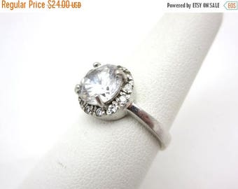 OnSale Vintage Sterling CZ Ring - Round Faux Diamond