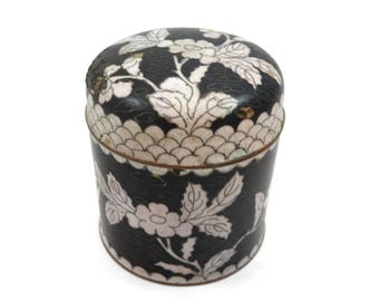 Round Cloisonne Box -  Chinese Enamel Trinket Box Black White
