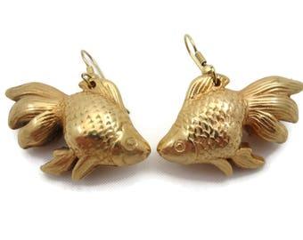 Goldfish Earrings - Koi Gold Tone Costume Jewelry