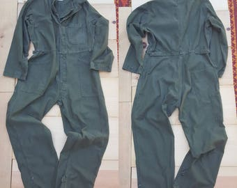 Vintage Coveralls // Vtg 80s Military Olive Army Distressed Cotton Sateen Type I Coveralls