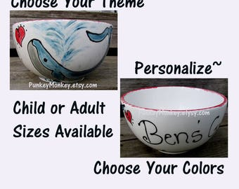 Pottery Personalized bowl custom ice cream bowl custom popcorn bowl custom snack bowl custom cereal bowl custom chowder soup bowl salad