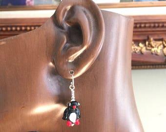 Glass Penguin Earrings on Sterling Silver