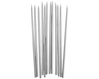 Tall Silver Hand Dipped Birthday Candles - 12 long metallic silver party birthday cake candles