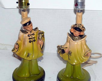 Table Lamps - 1950 Chalkware - Chinese Man - Lady - Working