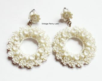 Vintage Celluloid Pierced Dangle Earrings, White Flowers