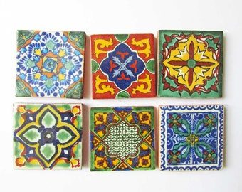 Set of 6 Vintage 1960's Sample Size 2 Inch Redware Ceramic Tiles w Colorful Tile Designs, Creative Use, Collector Tiles, Tiles to Frame