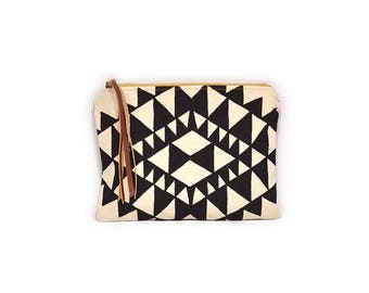 cosmetic pouch • canvas zipper bag - black and white geometric print make up bag • black triangle print - waxed canvas • large clutch