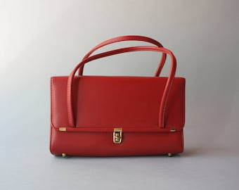1950s Purse / Vintage 50s Ruby Red Bag / 1960s Faux Leather Red Handbag
