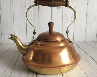Vintage Copper and Brass tea kettle pot with wooden handle - fall decorating - farmhouse style